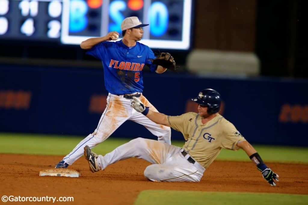University-of-florida-shortstop-dalton-guthrie-turns-two-in-a-regional-win-over-georgia-tech-in-2016-florida-gators-baseball-1280x852-1024x682