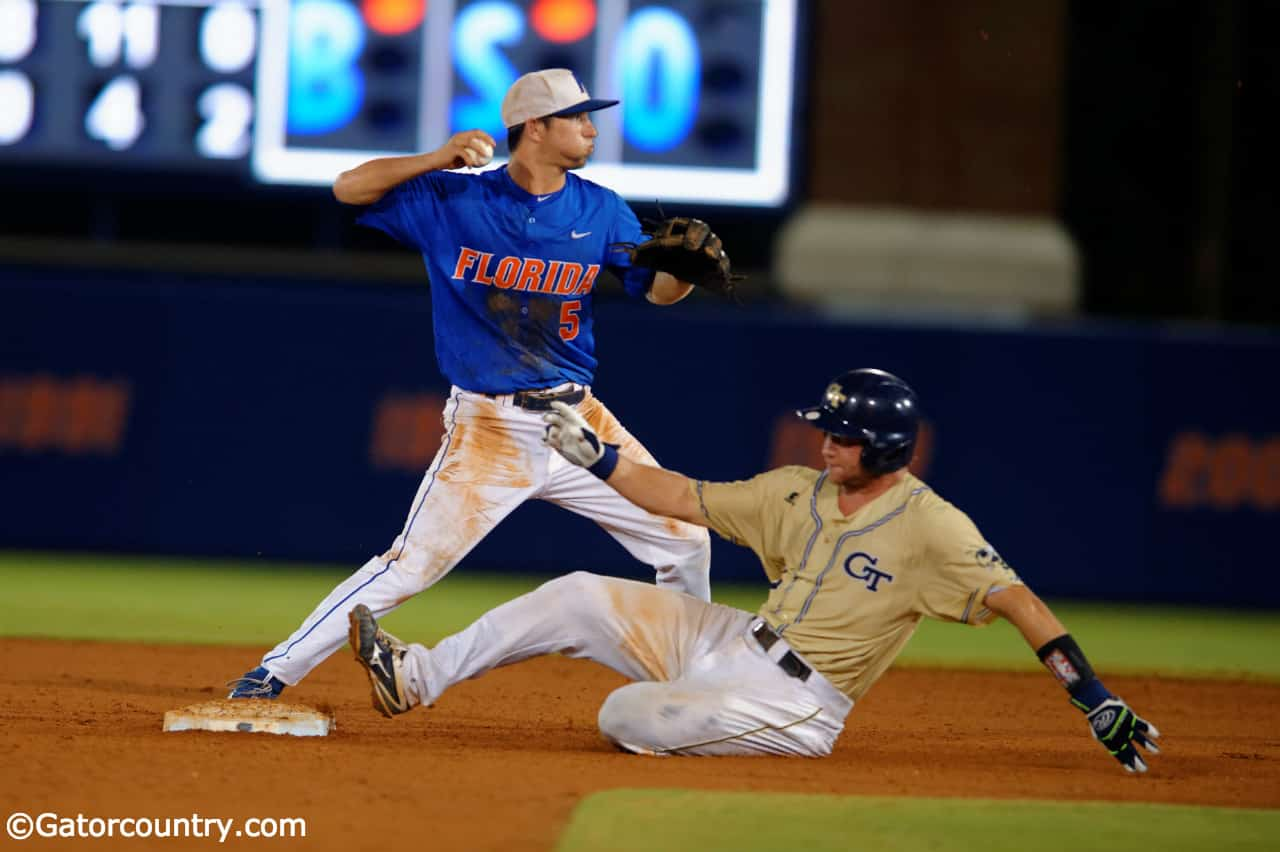University of Florida shortstop Dalton Guthrie turns two in a Regional win over Georgia Tech in 2016- Florida Gators baseball- 1280x852