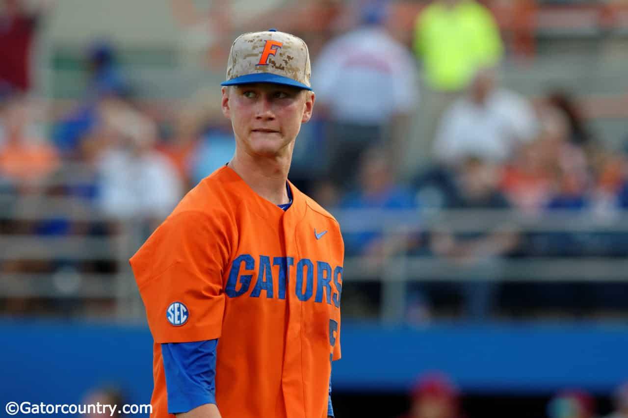 University of Florida sophomore pitcher Brady Singer walks off the mound in a loss to South Carolina- Florida Gators baseball- 1280x852