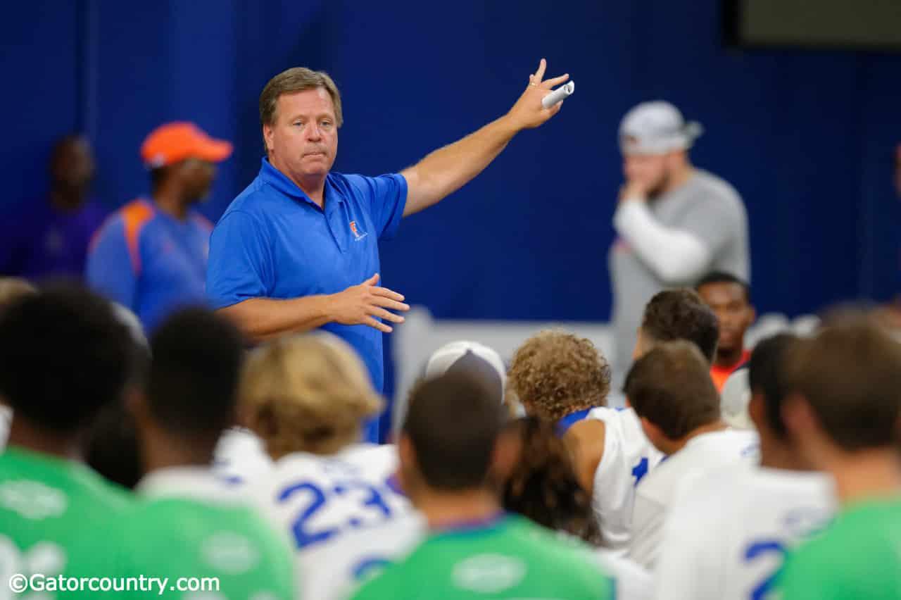 University of Florida head football coach Jim McElwain talks to campers at Friday Night Lights 2017- Florida Gators recruiting- 1280-x852