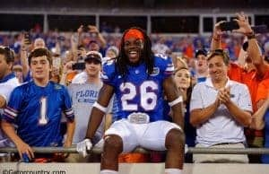 University of Florida safety Marcell Harris celebrates with fans after the Florida Gators 2016 win over the Georgia Bulldogs- Florida Gators football- 1280x852