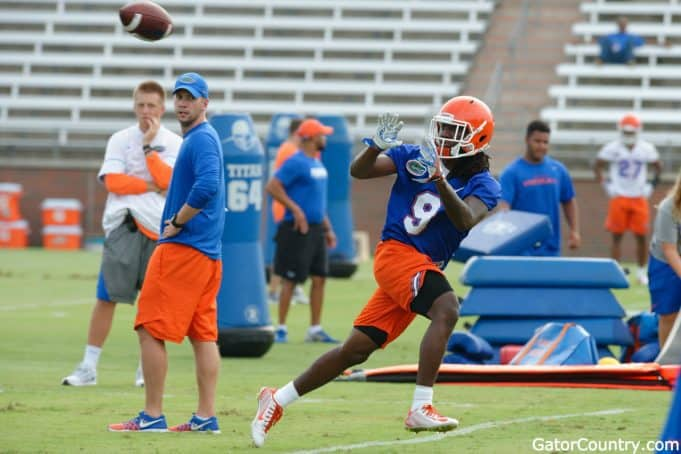 Florida Gators receiver Dre Massey at fall practice in 2017- 1280x853