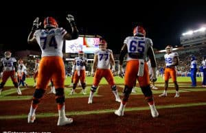 The Florida Gators offensive line warms up before their 2016 matchup against the Florida State Seminoles in Tallahassee- Florida Gators football-1280x854