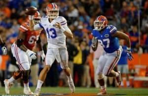 University of Florida quarterback Feleipe Franks scrambles and throws a pass during the Orange and Blue Debut- Florida Gators football- 1280x852