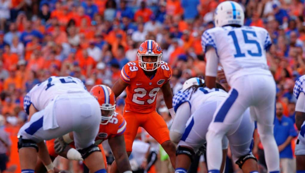 University of Florida safety Jeawon Taylor lines up on defense during a win over the Kentucky Wildcats in 2016- Florida Gators football- 1280x852