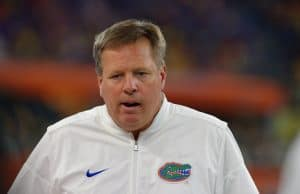 Florida Gators head coach Jim McElwain looks on against Michigan- 1280x853