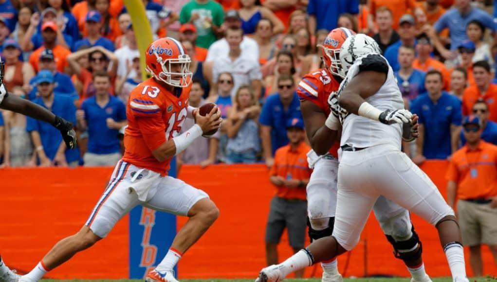 Florida Gators quarterback Feleipe Franks runs against Vanderbilt- 1280x852