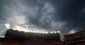 Rain clouds move over Ben Hill Griffin Stadium and eventually force a rainout of the Florida Gators game against the Idaho Vandals in 2014- Florida Gators football- 1280x852