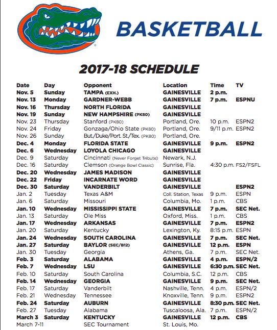 Florida Gators basketball schedule for 2017-18