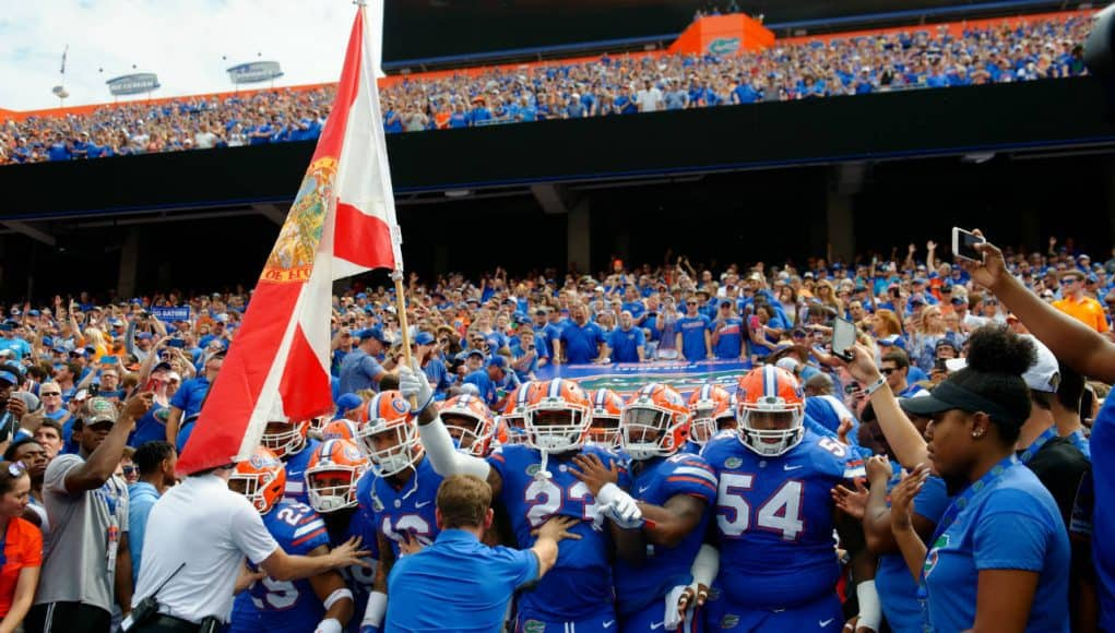 The Florida Gators get ready to run out of the tunnel against Tennessee- 1280x852