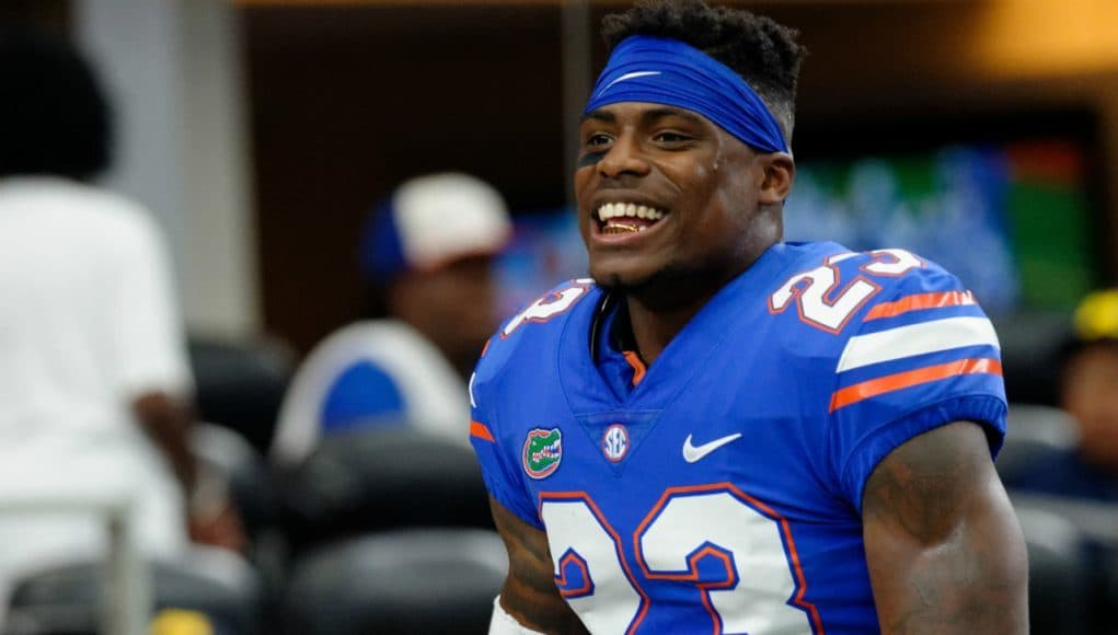 University of Florida defensive back Chauncey Gardner smiles before the Florida Gators matchup against Michigan at AT&T Stadium- Florida Gators football- 1280x852