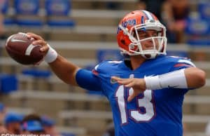 University of Florida quarterback Feleipe Franks warming up before the Florida Gators game against Tennessee- Florida Gators football- 1820x852
