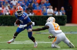 University of Florida receiver Kadarius Toney makes Tennessee defensive back Emmanuel Moseley miss in the open field- Florida Gators football- 1280x852