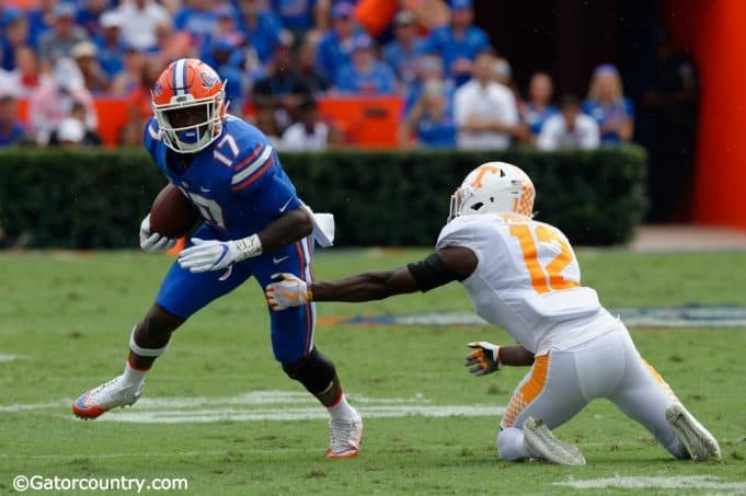 University of Florida receiver Kadarius Toney makes Tennessee defensive back Emmanuel Moseley miss in the open field- Florida Gators football- 1280x852