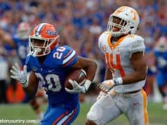 University of Florida running back Malik Davis carries the ball against the Tennessee Volunteers- Florida Gators football- 1280x852
