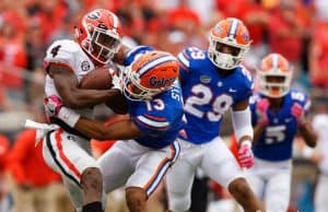 Florida Gators DB Donovan Stiner makes a tackle against UGA- 1280x853