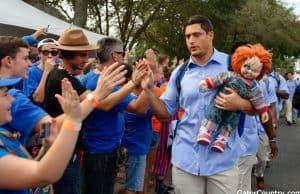 Florida Gators DE Jordan Sherit walks in with the chucky doll vs LSU- 1280x852