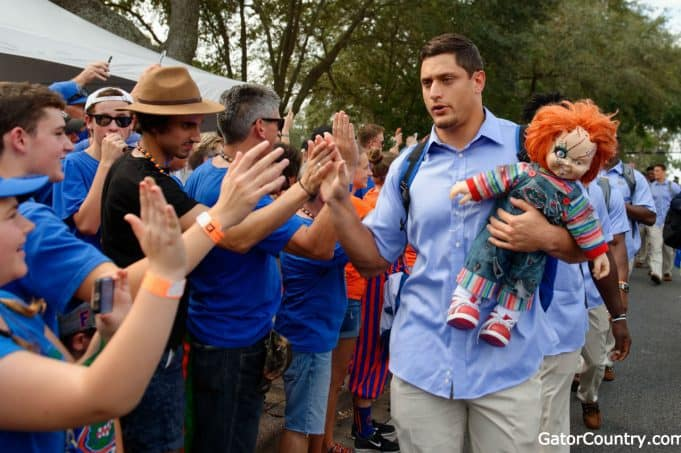 Florida Gators DE Jordan Sherit walks in with the chucky doll vs LSU- 1280x852