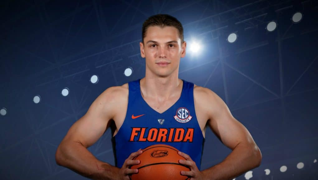 Florida Gators basketball guard Egor Koulechov at media days- 1280x854