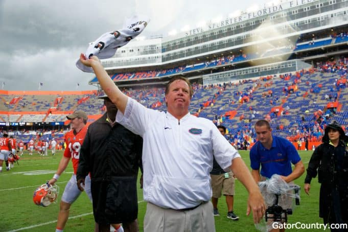 Florida Gators head coach Jim McElwain celebrates after the Vanderbilt game- 1280x854