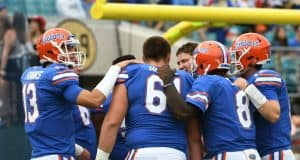 Florida Gators offense huddles up before the Georgia game- 1280x853