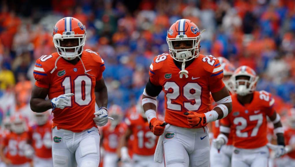 Florida Gators players run out of the Swamp against Vandy- 1280x852