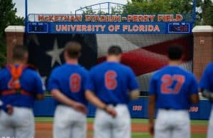The Florida Gators stand for the National Anthem before game three of the 2017 Gainesville Super Regional at McKethan Stadium- Florida Gators baseball- 1280x854