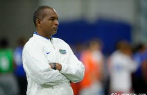 University of Florida coach Randy Shannon watches drills during the Florida Gators Friday Night Lights camp- Florida Gators football- 1280x852