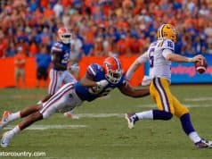 University of Florida defensive end Jabari Zuniga chases after LSU quarterback Danny Etling- Florida Gators baseball- 1280x852