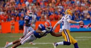 University of Florida defensive end Jabari Zuniga chases after LSU quarterback Danny Etling- Florida Gators baseball- 1280x852