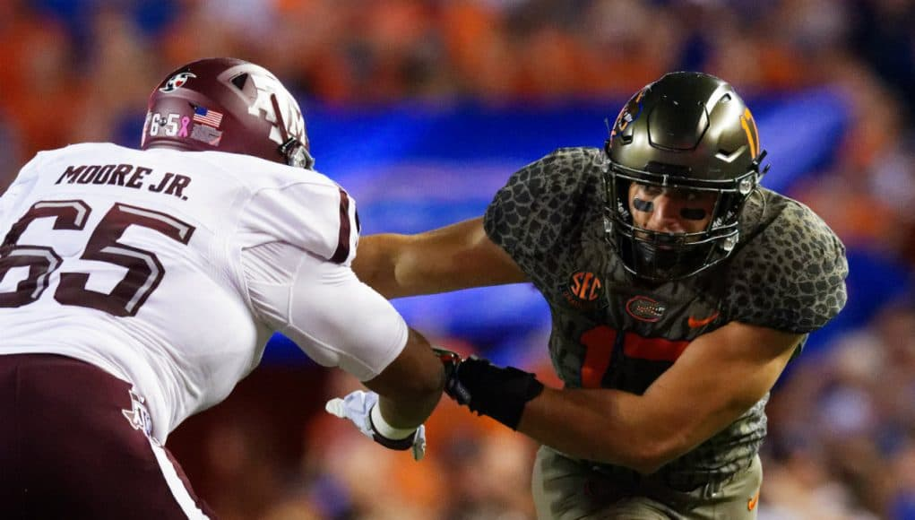University of Florida defensive end Jordan Sherit rushes the quarterback in a loss to Texas A&M- Florida Gators football- 1280x853