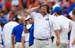 University of Florida head coach Jim McElwain reacts to a false start penalty called in a 42-7 loss to Georgia- Florida Gators football- 1280x853