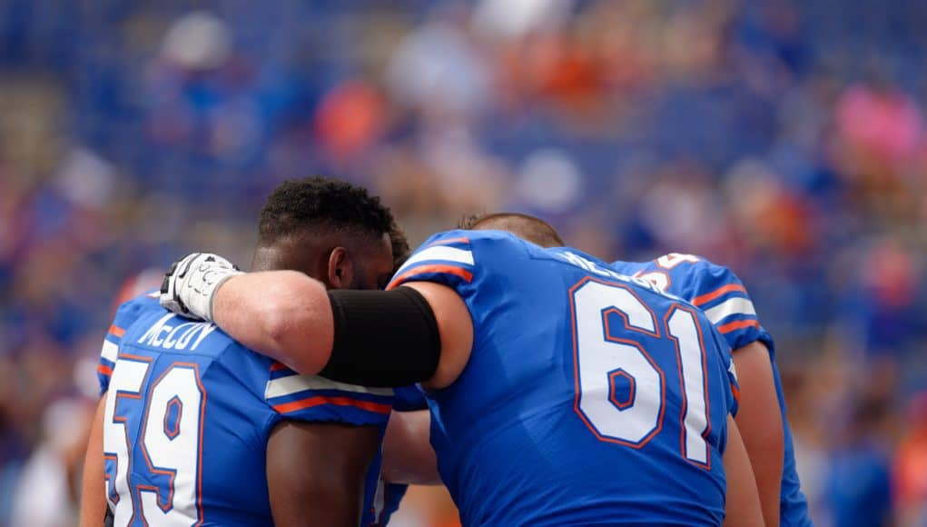 University of Florida offensive linemen huddle before the Florida Gators game against the LSU Tigers- Florida Gators football- 1280
