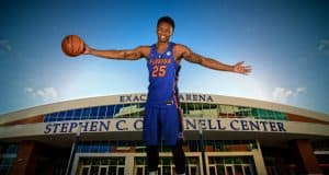 University of Florida power forward Keith Stone posed on his skateboard at Florida Gators basketball media day- Florida Gators basketball- 1280x853