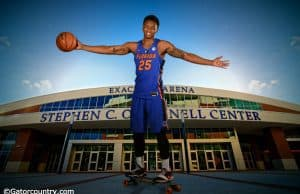 University of Florida power forward Keith Stone posed on his skateboard at Florida Gators basketball media day- Florida Gators basketball- 1280x853