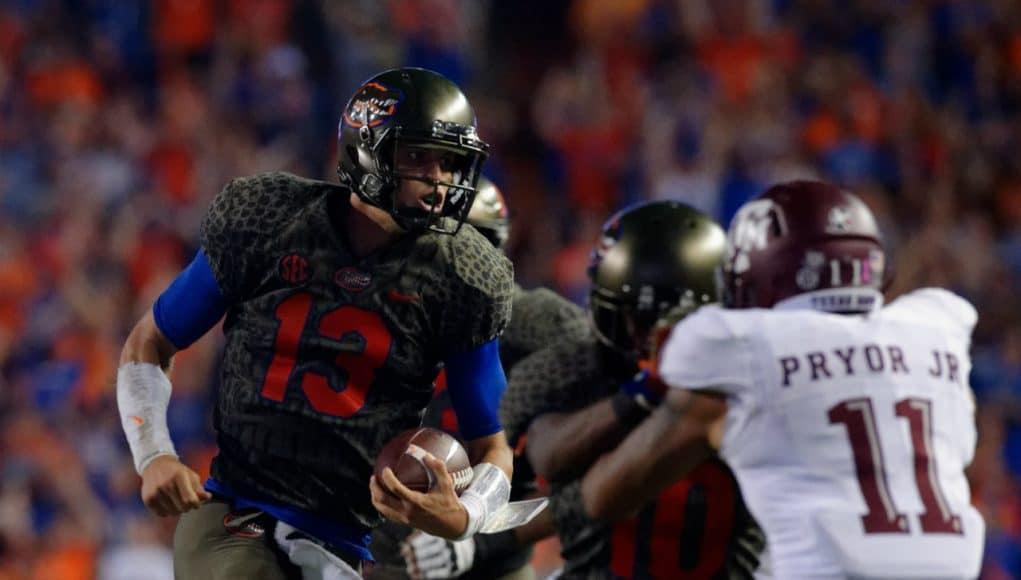 University of Florida quarterback Feleipe Franks scrambles for a 79-yard gain against the Texas A&M Aggies- Florida Gators football- 1280x852