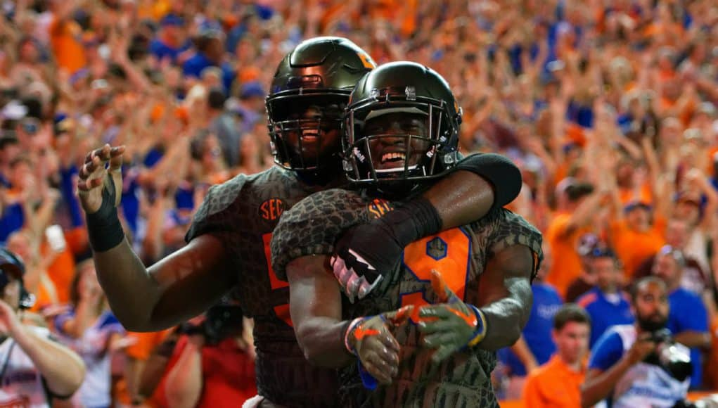 University of Florida receiver Dre Massey and center T.J. McCoy celebrate Massey's touchdown against Texas A&M- Florida Gators football- 1280x853
