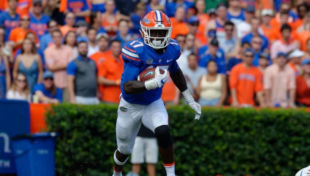 University of Florida receiver Kadarius Toney runs in the open field against LSU- Florida Gators football- 1280x852