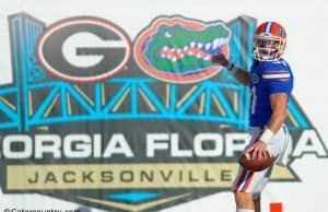 University of Florida receiver Mike McNeely looks back after scoring a touchdown on a fake field goal in a win over the Georgia Bulldogs- Florida Gators football- 1280x852