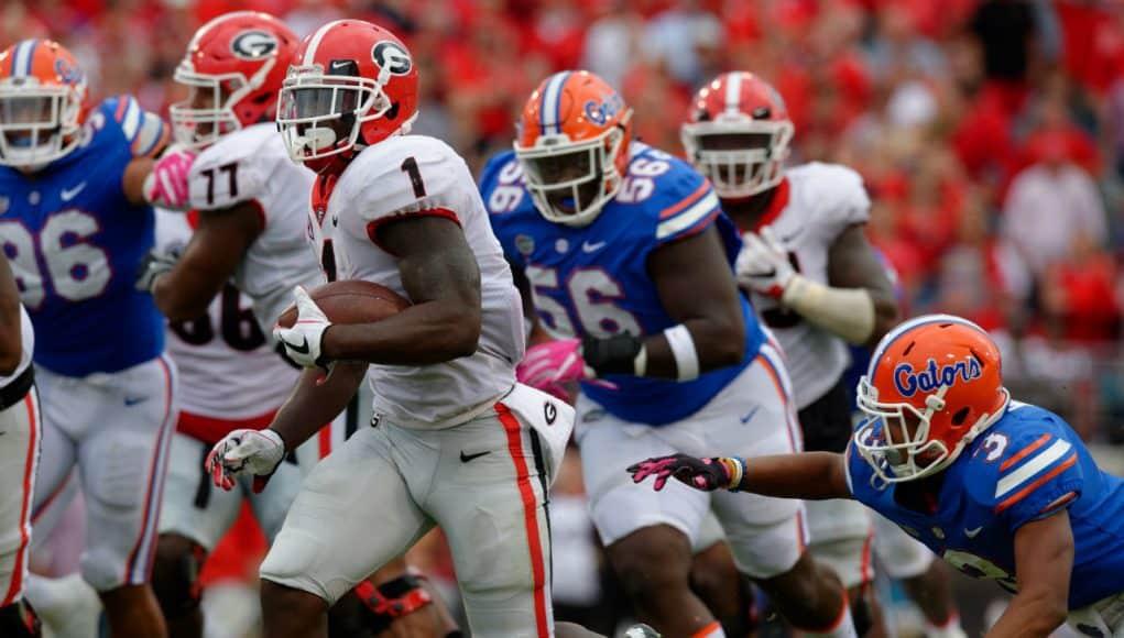 University of Georgia running back Sony Michel rushed against the Florida Gators during a 42-7 win- Florida Gators football- 1280x852