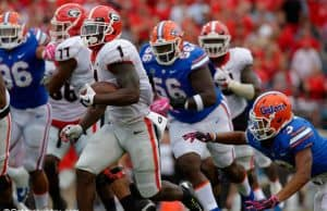 University of Georgia running back Sony Michel rushed against the Florida Gators during a 42-7 win- Florida Gators football- 1280x852