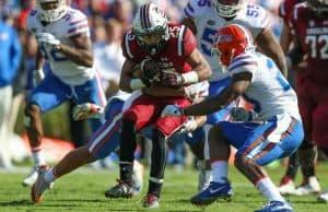 Florida Gators DB Donovan Stiner tackles South Carolina- 1280x853