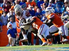 Florida Gators linebacker Vosean Joseph makes a tackle against FSU- 1280x853