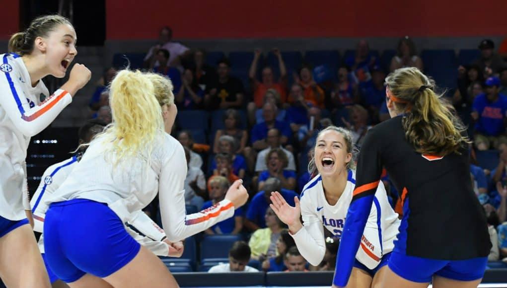 Florida Gators volleyball celebrates a win- 1280x853
