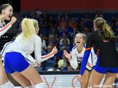 Florida Gators volleyball celebrates a win- 1280x853