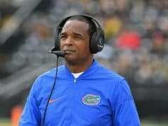 Nov 4, 2017; Columbia, MO, USA; Florida Gators head coach Randy Shannon watches the replay board during the first half against the Missouri Tigers at Faurot Field. Mandatory Credit: Denny Medley-USA TODAY Sports