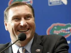Nov 27, 2017; Gainesville, FL, USA; Florida Gators head coach Dan Mullen talks with media as he is introduced as head coach at Ben Hill Griffin Stadium. Mandatory Credit: Kim Klement-USA TODAY Sports