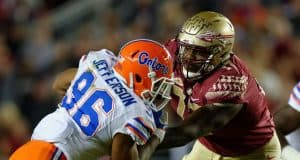 University of Florida defensive lineman CeCe Jefferson rushes the passer in the Florida Gators 2016 matchup with FSU- Florida Gators football- 1280x852