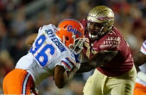 University of Florida defensive lineman CeCe Jefferson rushes the passer in the Florida Gators 2016 matchup with FSU- Florida Gators football- 1280x852