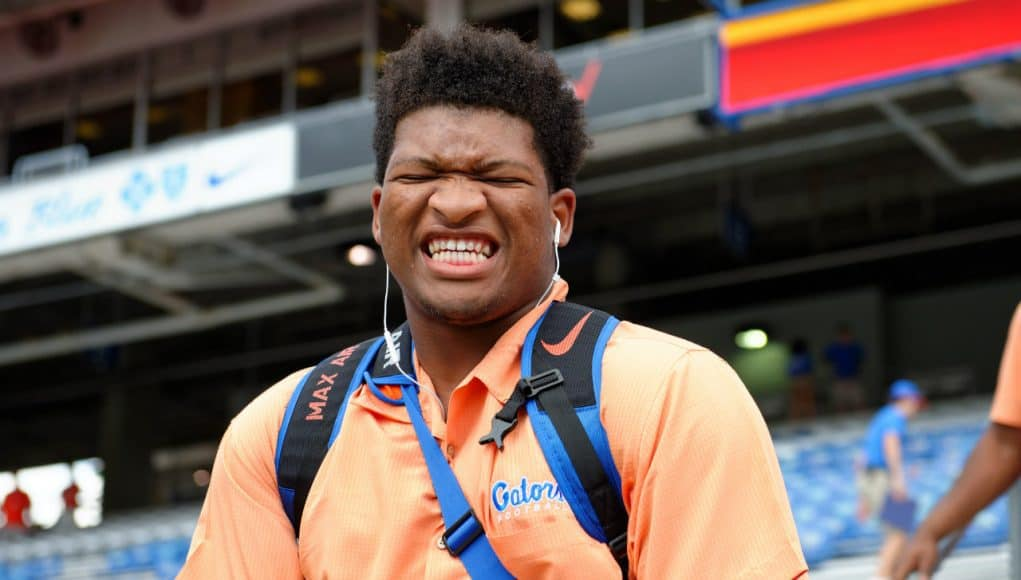 University of Florida offensive lineman Fred Johnson smiles as he walks into Ben Hill Griffin Stadium before playing Kentucky- Florida Gators football- 1280x852